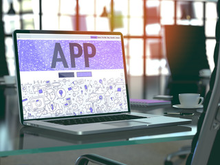 App Concept Closeup on Landing Page of Laptop Screen in Modern Office Workplace. Toned Image with Selective Focus. 3D Render.