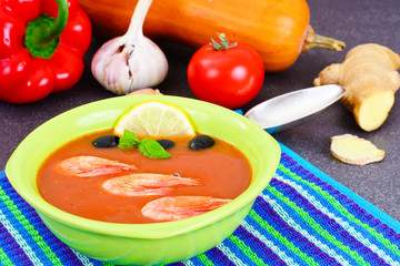 Tomato Soup with Shrimps Diet Food