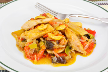 Chicken with Cashew Nuts, Vegetables and Soy Sauce. Asian Cuisin