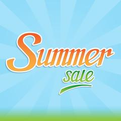 Summer sale. Summer sale lettering banner. Summer sale background with handwritten letters. Summer sale inscription. Summer sale title. Summer sale handlettering text. Vector illustration