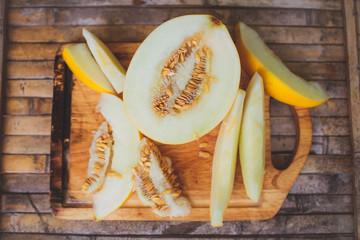 yellow melon Cantaloupe  slices
