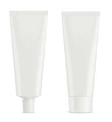 Two white toothpaste tube. Vector