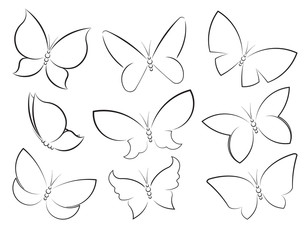 Butterflies vector set outlined silhouettes for design, icons, s