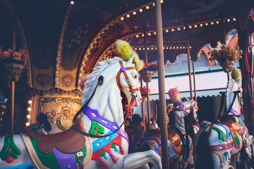 Poster Imagination Luna park - carousel ride