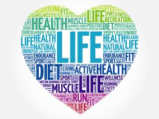 LIFE heart word cloud, fitness, sport, health concept