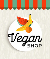 Vegan shop design with orange and banana fruit