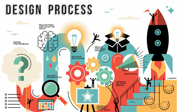 Design process flat line art concept infographic