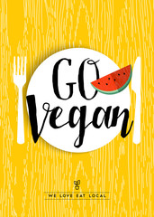 Go vegan restaurant menu poster design with fruit