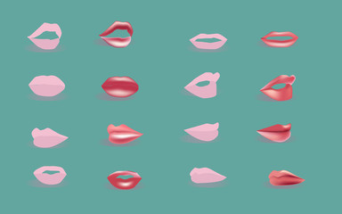 Set of isolated women lips by Vector illustration.