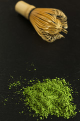 Powdered green tea and bamboo whisk