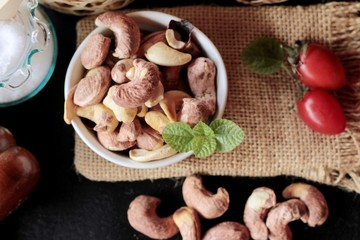 Cashews nuts are roasted delicious with salt.
