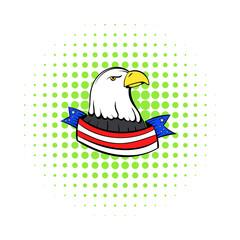 Bald eagle with USA flag icon, comics style