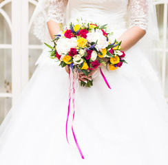 beautiful bouquet  in the hands of  bride
