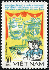 stamp of VIETNAM shows cooperation agreement between Vietnam and Kampuchea