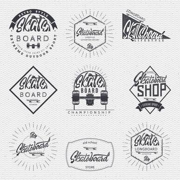 Skateboard - insignia, badge, label, sign, print, stamp, can be used in the design