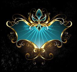 turquoise banner with Fleur de Lis