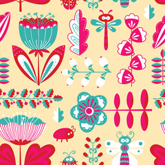 Decorative seamless background with flowers, bugs and dragonfly in cartoon style