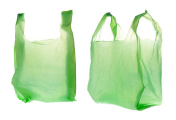 Green Plastic bag on white background