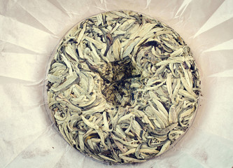 Chinese pressed white tea, silver needle