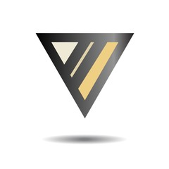 Abstract black logo. The triangle and the two bands. Vector illu