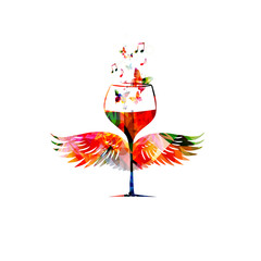 Colorful wineglass with wings