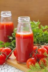 Tomato juice in bottles