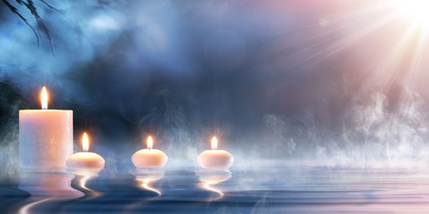 Meditation In Spiritual Zen Scenery - Candles On Thermal Water