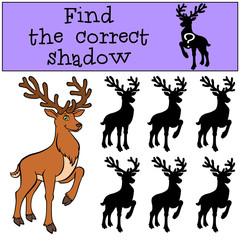 Children games: Find the correct shadow. Cute deer stands and smiles.