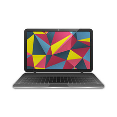 Black notebook with abstract polygonal vector background. Laptop isolated.