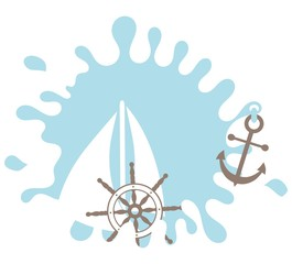 Nautical design element. Rudder. Splash. Anchor