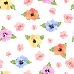 Seamless floral  background. Isolated beautiful flowers and leaves on white background.