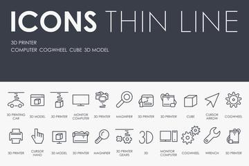 Three D Printer Thin Line Icons