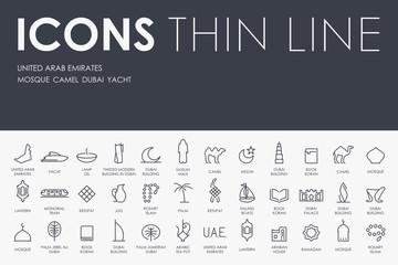 United Arab Emirates Thin Line Icons