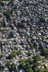 Crowded Brazilian Rocinha community favela shanty town climbs a hillside in Rio de Janeiro Brazil