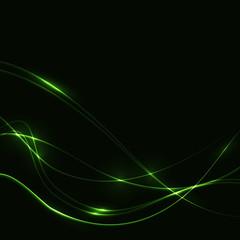Dark background with green laser shine neon waves