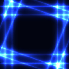 Blue neon grid on dark background - template