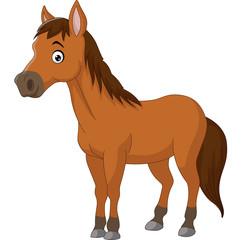 Cute cartoon brown horse