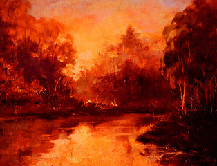 sunset in forest on river, oil painting on canvas, illustration