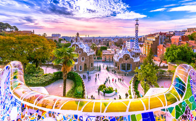 Self adhesive Wall Murals Barcelona View of the city from Park Guell in Barcelona, Spain
