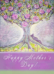 Happy mothers day hand drawn greeting card. Tree of Life acrylic painting. Spring painting