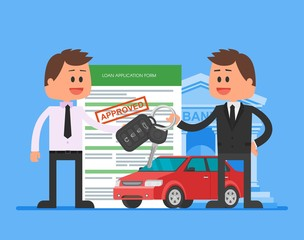Approved car loan vector illustration. Buying automobile concept. Dealer hand over keys to happy customer