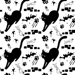 Black cat walking on the sloppy street. Vector seamless pattern with cat's silhouettes