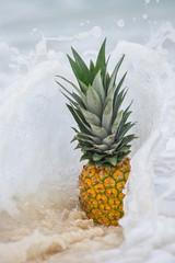 Pineapple fruit in caribbean sea water splashes
