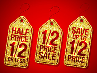 Half price sale, 1/2 price save, advertising sale golden labels set