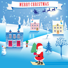 lovely Christmas winter landscape. Gnome with Christmas tree. vector illustration