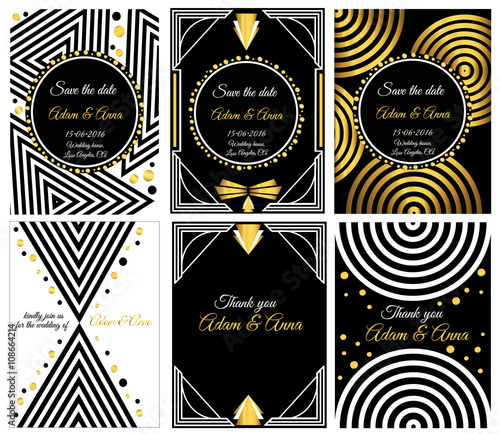 Art deco or gatsby vector cards vector card templates ideal for art deco or gatsby vector cards vector card templates ideal for save the date stopboris Image collections