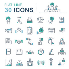 Set Vector Flat Line Icons Elections