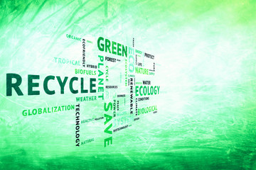 Modern grunge conceptual tags or word cloud on blurred grunge bright green color background, containing words related to ecology, environment, ecosystem, nature, etc. with place for text.