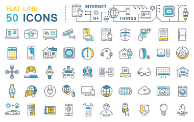 Set Vector Flat Line Icons Internet of Things