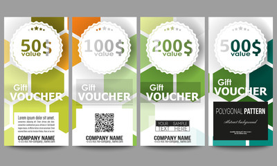 Set of gift voucher templates. Abstract colorful business background, modern stylish hexagonal vector texture